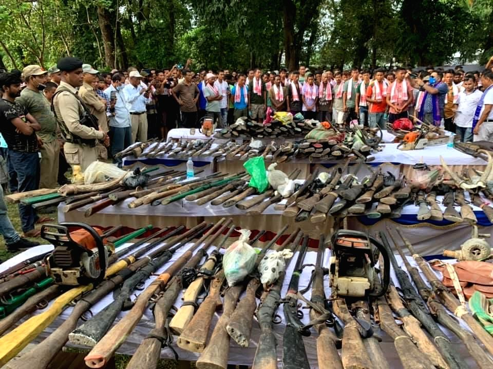500 poachers, wood cutters surrender arms in Bodoland areas of Assam