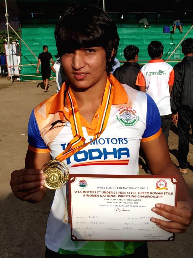57kg gold medallist Pinki during 2nd Tata Motors U-23 National Wrestling Championship in Shirdi, Maharashtra