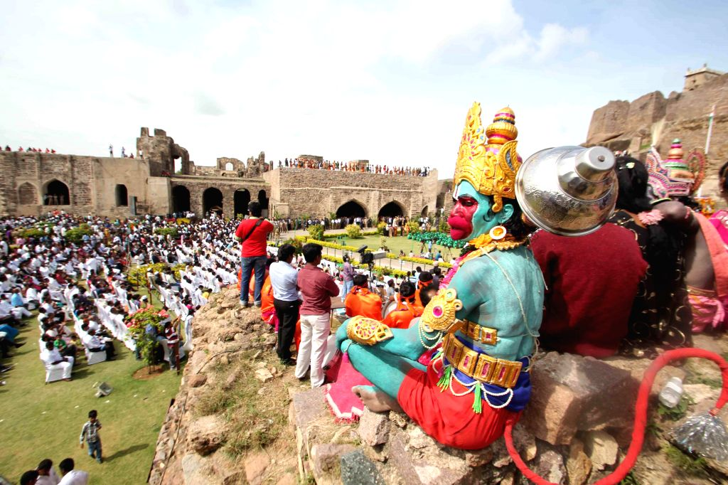 68th Independence Day celebrations at Golkonda Fort, some 11 km away from Hyderabad on Aug 15, 2014.