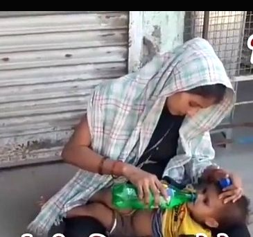 7 months pregnant woman walks onfoot from Surat to Banda.