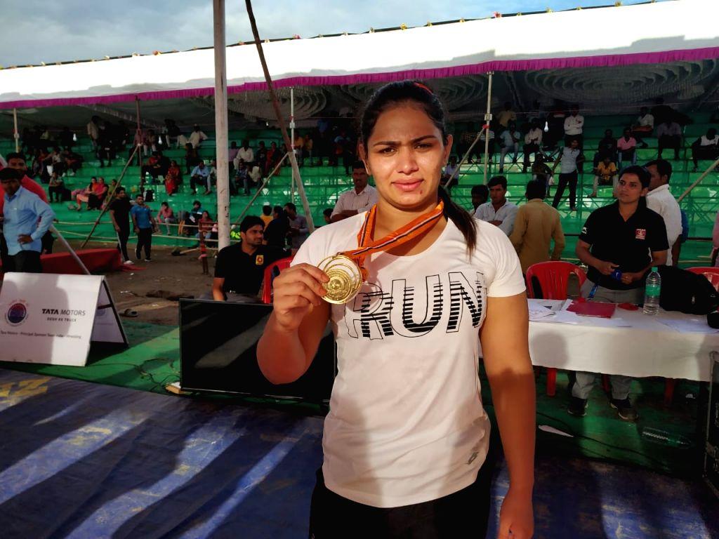 72 kg gold medallist Naina during 2nd Tata Motors U-23 National Wrestling Championship in Shirdi, Maharashtra
