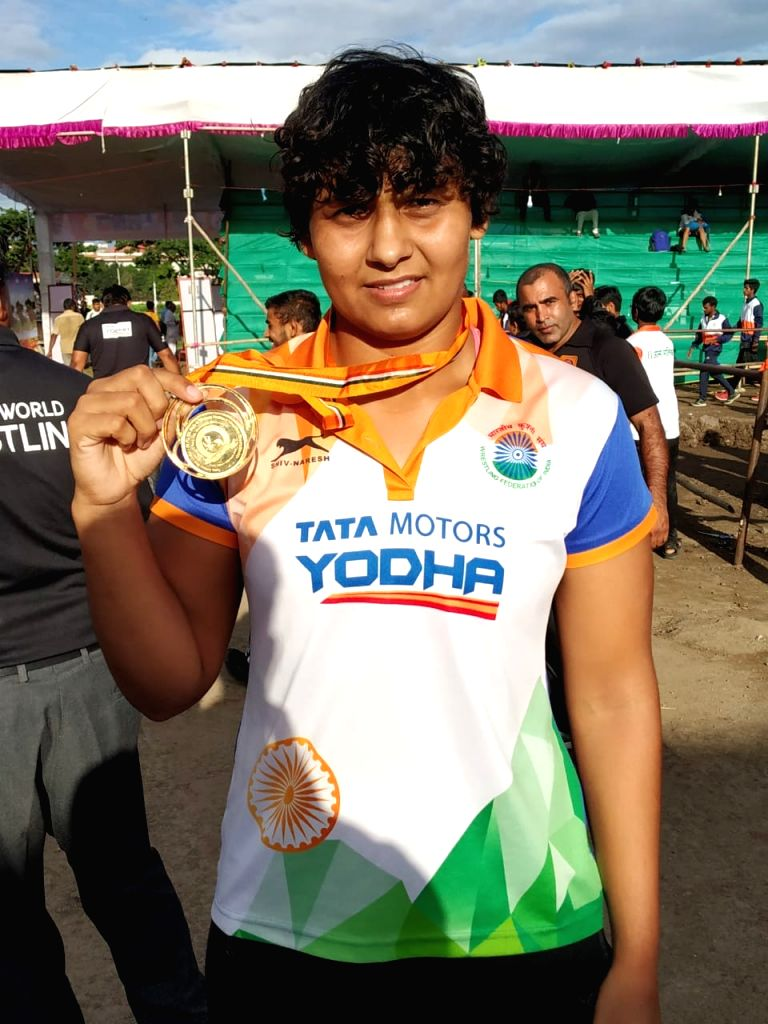76 kg gold medallist Pooja during 2nd Tata Motors U-23 National Wrestling Championship in Shirdi, Maharashtra