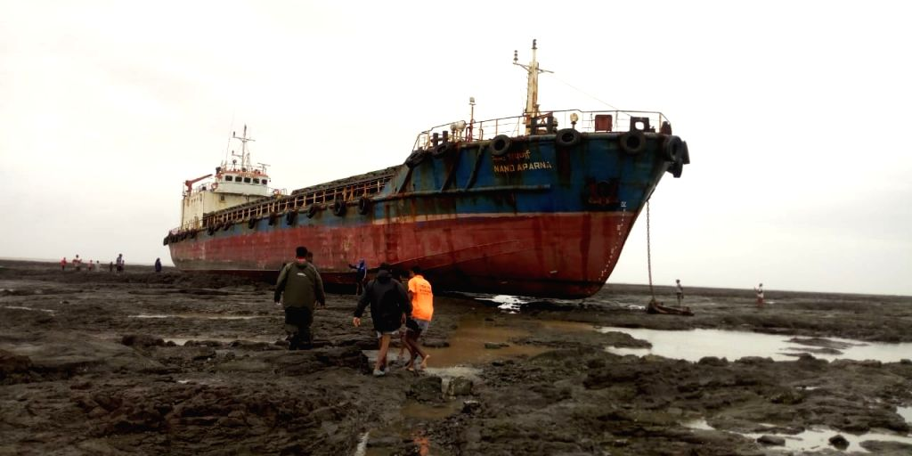 A 1479-tonnes cargo ship returning from Alibaug to Jazira in Gujarat, went adrift and is now stuck on the rocks off Palghar's Vangaon village in Maharashtra following stormy weather and ...