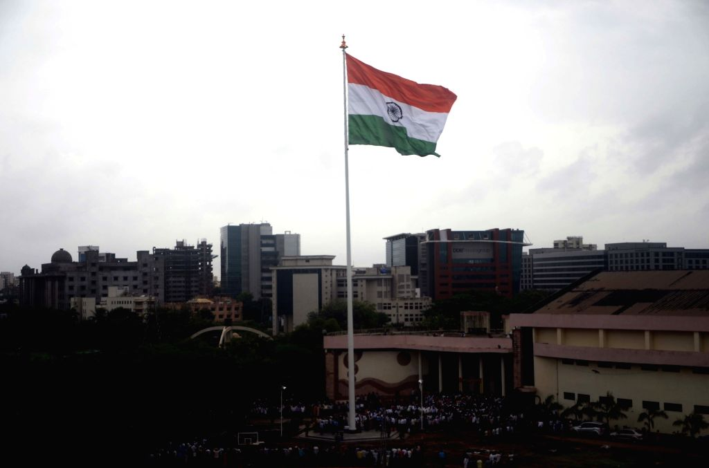 A 150 feet Indian National Flag installed at Mumbai University on the occassion of its 159th anniversary celebration in Mumbai on July 18, 2016.