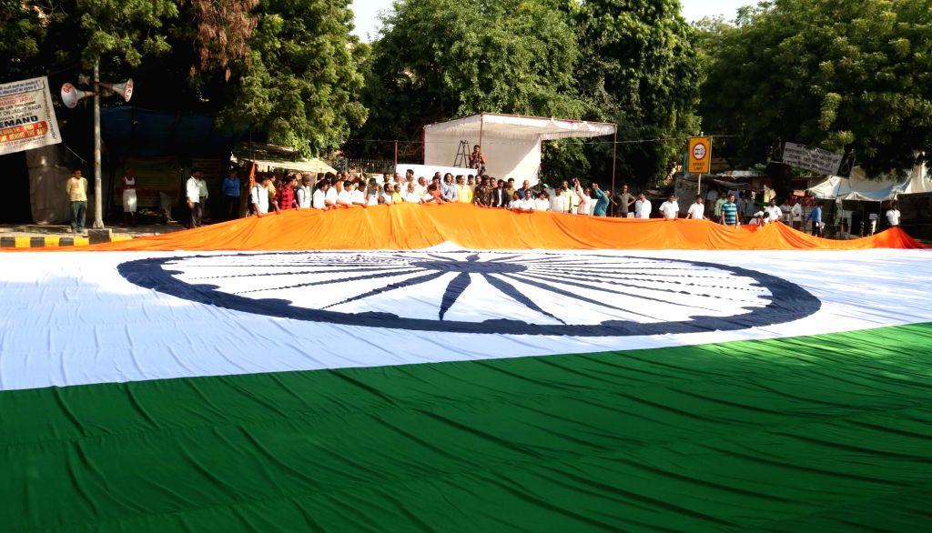 A 170 meter long Indian flag diplayed on the occasion of Dr. APJ Abdul Kalam birth anniversary in New Delhi on Oct 15, 2016.