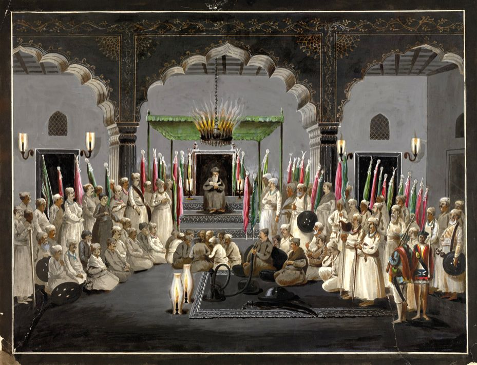 A 18th century watercolour of Avadh\'s fourth nawab, Asaf-ud-Daula (in centre, with hookah) listening to a religious sermon during Muharram