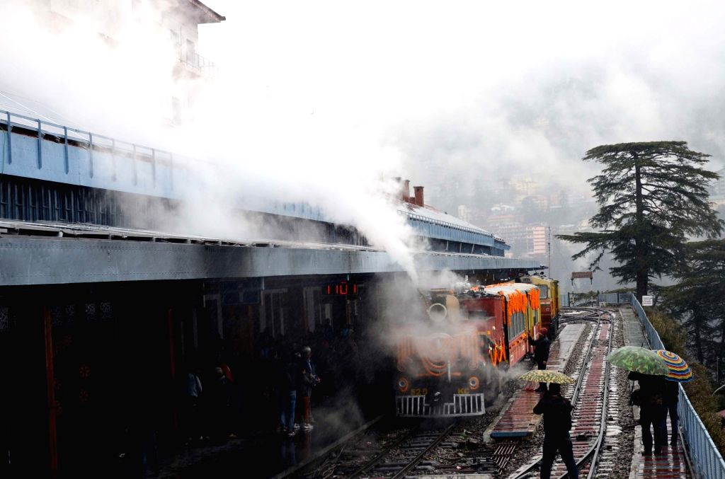 A 1905 British-built steam engine, Northern Railways, the only existing narrow-gauge steam engine, runs on Kalka-Shimla UNESCO World Heritage Railway Track for school children during heritage ...