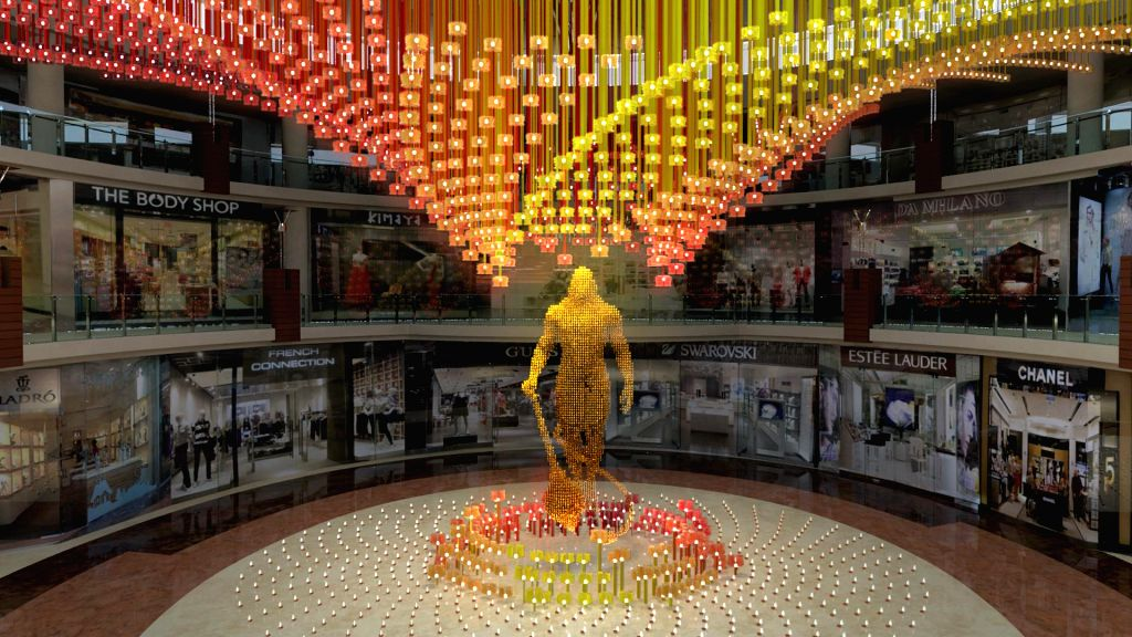 A 25-feet tall Lord Hanuman, made using 26,500 bells, suspended on fishing nets using hooks, that be exhibited at a Delhi mall from 13th September; in New Delhi  on Sept 9, 2014. The structure is a ..
