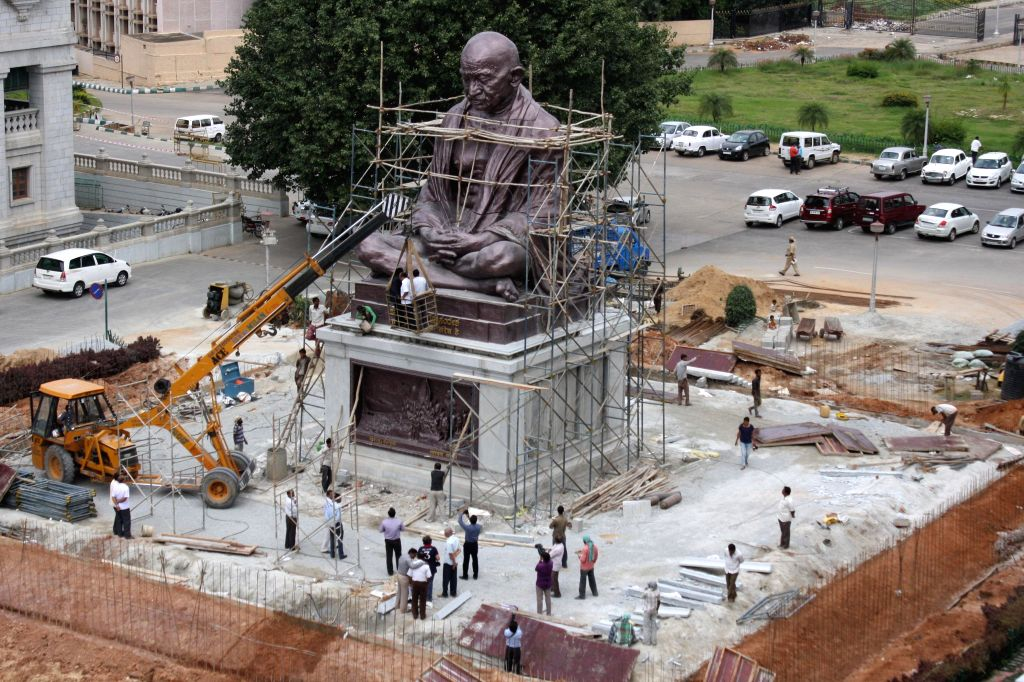 A 27 feet statue of Mahatma Gandhi is being readied for inauguration at Vidhana Soudha, in Bangalore on September 6, 2014.