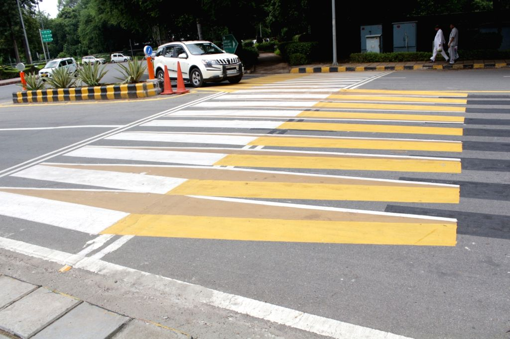 A 3-D  speed breaker, with its zigzag black, white and yellow lines on Lodhi Road of New Delhi that give  illusion of a barrier when seen from a distance and compels the drivers to slow ...