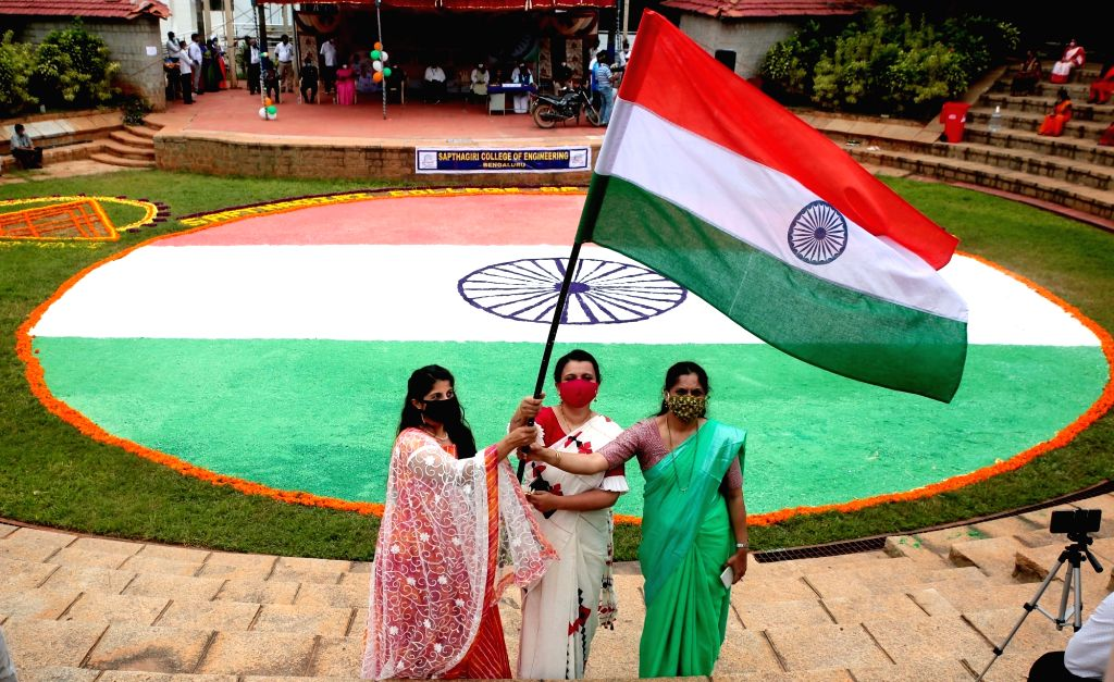 A 4000 sq ft rangoli of the national flag made by students and teachers of Sapthagiri Engineering College as part of the 74th Independence Day celebrations, in Bengaluru on Aug 14, 2020.