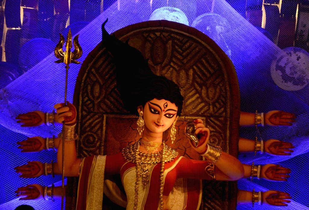 A beautifully decorated community puja pandal ahead of Durga Puja celebrations, Kolkata on Oct 21, 2020.