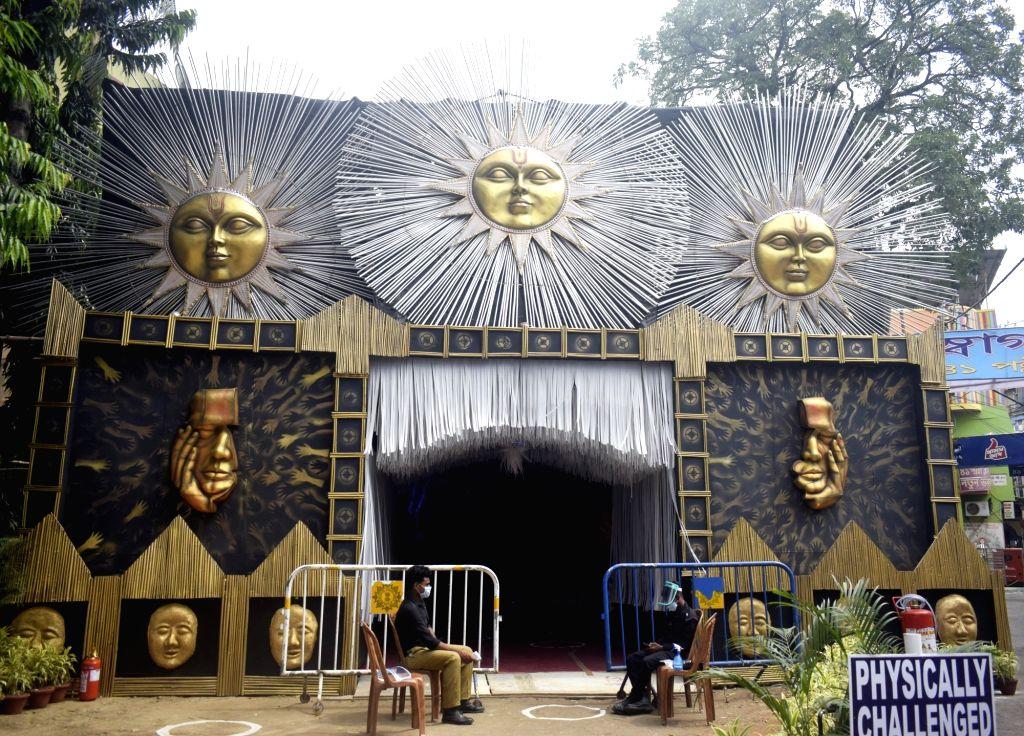 A beautifully decorated community puja pandal at Haridevpur 41 Pally Club ahead of Durga Puja celebrations, in Kolkata on Oct 20, 2020.