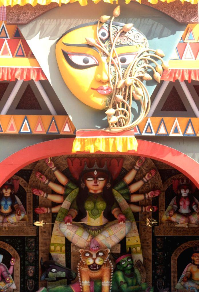 A beautifully decorated Kumartuli Sarbojanin community puja pandal ahead of Durga Puja celebrations, in Kolkata on Oct 21, 2020.
