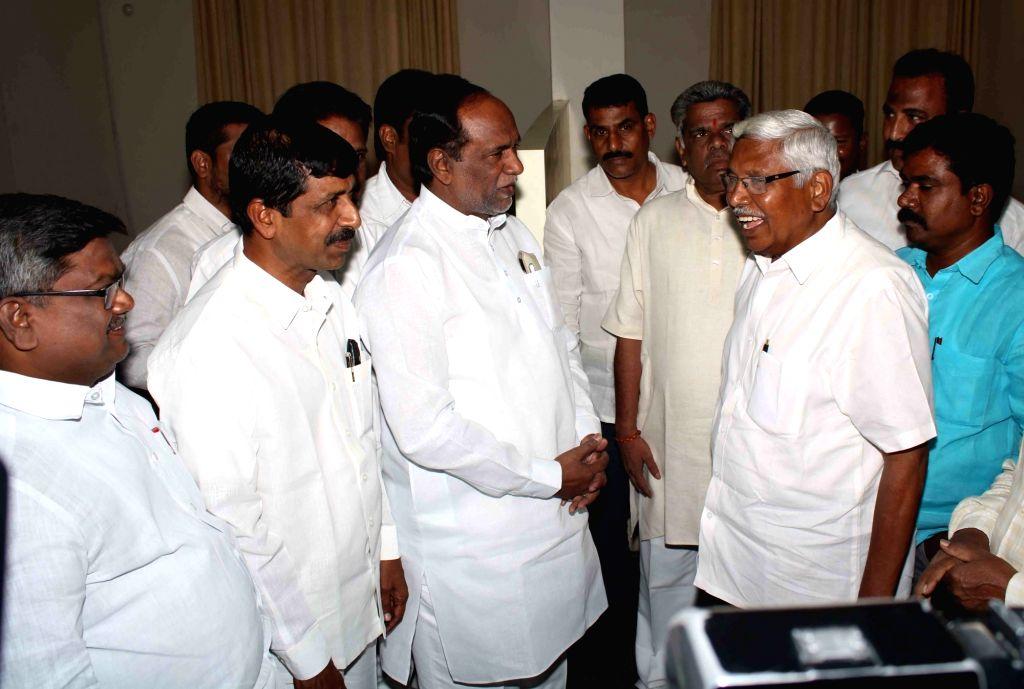 A BJP delegation led by Telangana party president K. Laxman meets Telangana Jana Samithi (TJS) founder M. Kodandaram in Hyderabad on Oct 11, 2019.