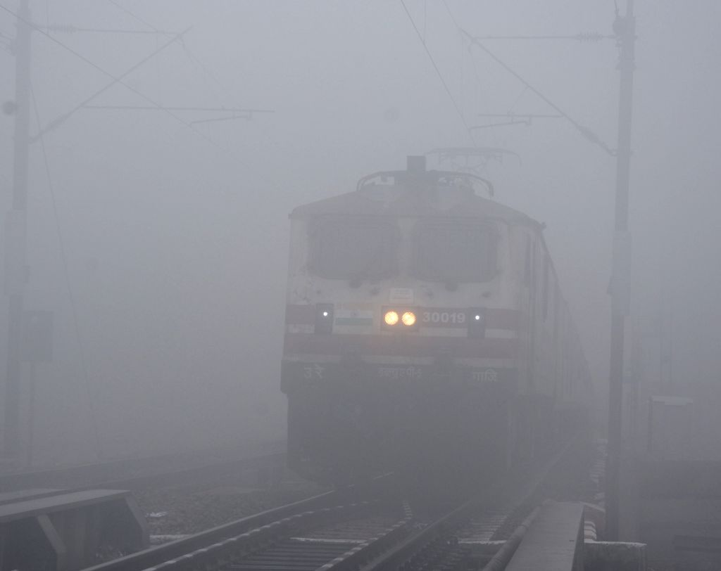 A blanket of dense fog engulfs Mathura, on Feb 4, 2019.