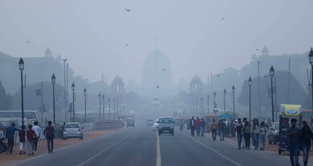 A blanket of toxic haze engulfs the national capital, on Nov 13, 2019. The Delhi air quality index (AQI) is at emergency levels again on Wednesday with an overall count of 476 and not much ...