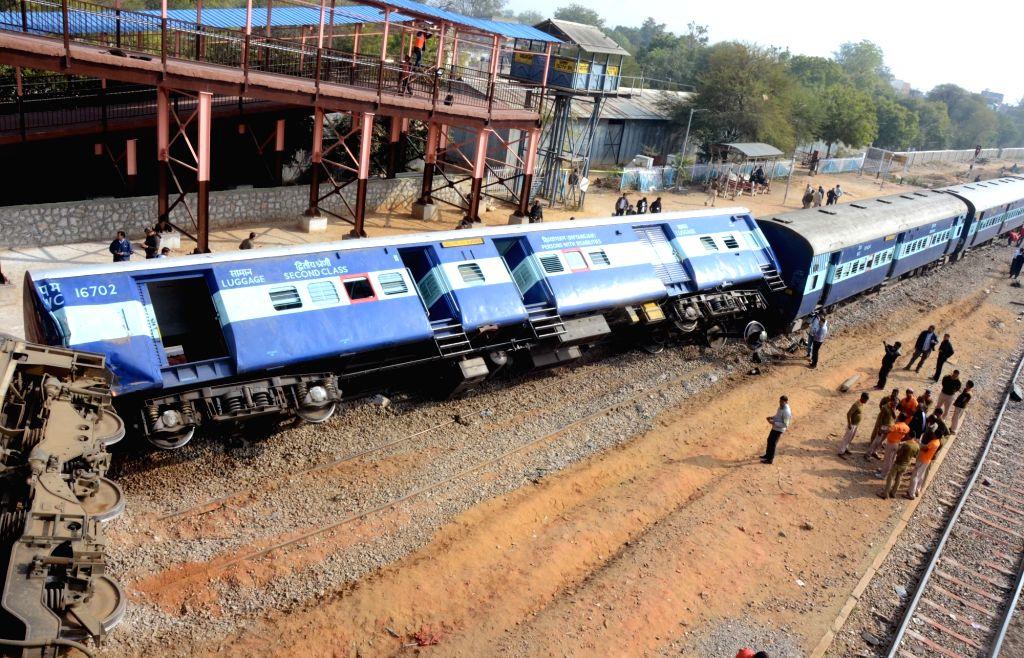 A bogey of Dayodaya Express that got derailed near Sanganer railway station in Jaipur on Feb 1, 2019.