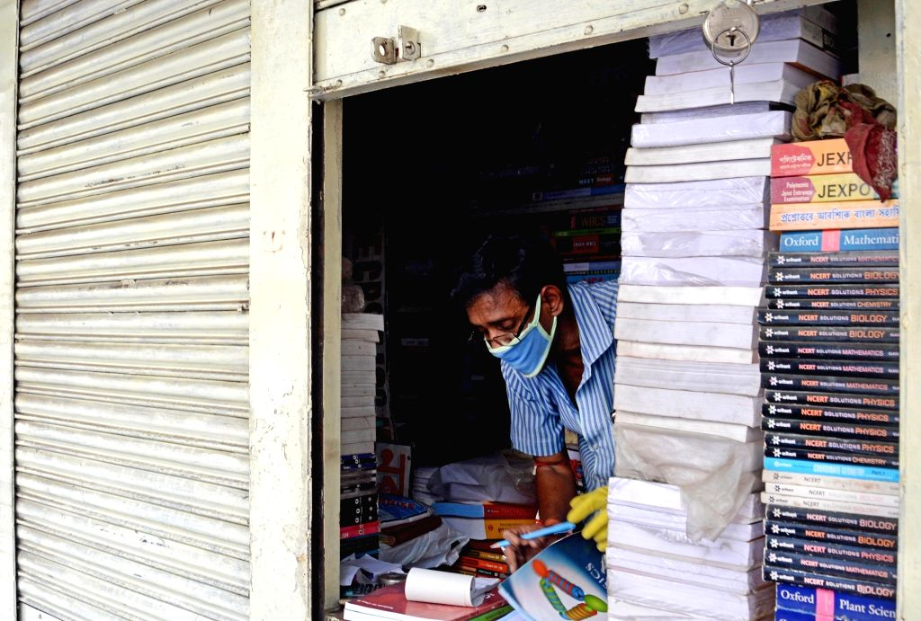 A book store partially open at Kolkata's College Street during the extended nationwide lockdown imposed to mitigate the spread of coronavirus, on May 7, 2020.