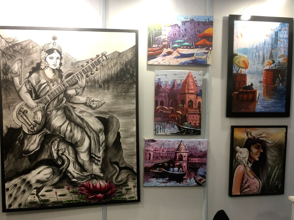 A booth dedicated to Tihar inmates' art at the India Art Festival, 2018.