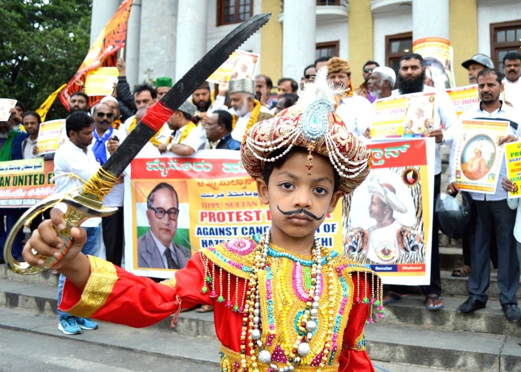 A boy dressed up as Tipu Sultan during a demonstration by Tipu Sultan United Front against the cancellation of 'Tipu Sultan Jayanti' celebrations, in Bengaluru on Aug 10, 2019.
