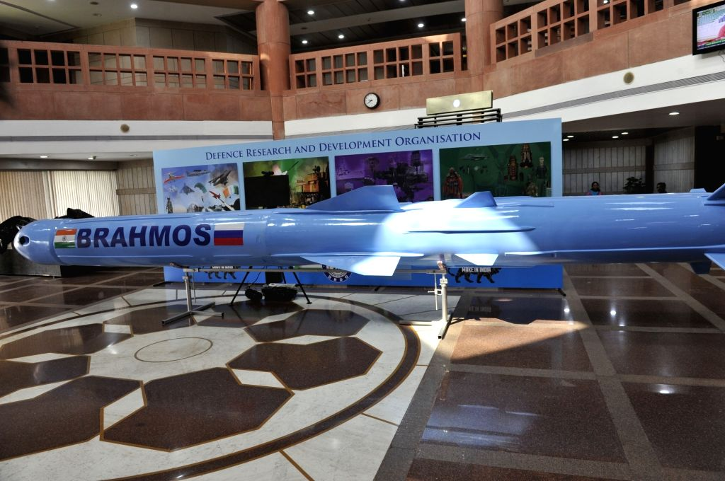A BrahMos missile on display at Parliament Library ahead of Defence Research and Development Organisation (DRDO) exhibition in New Delhi, on Aug 2, 2016.