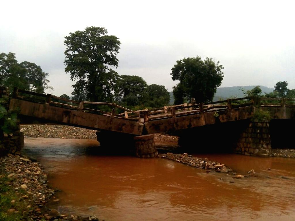 A bridge collapses due to heavy rains in Odisha's Deogarh on Sept 10, 2016.