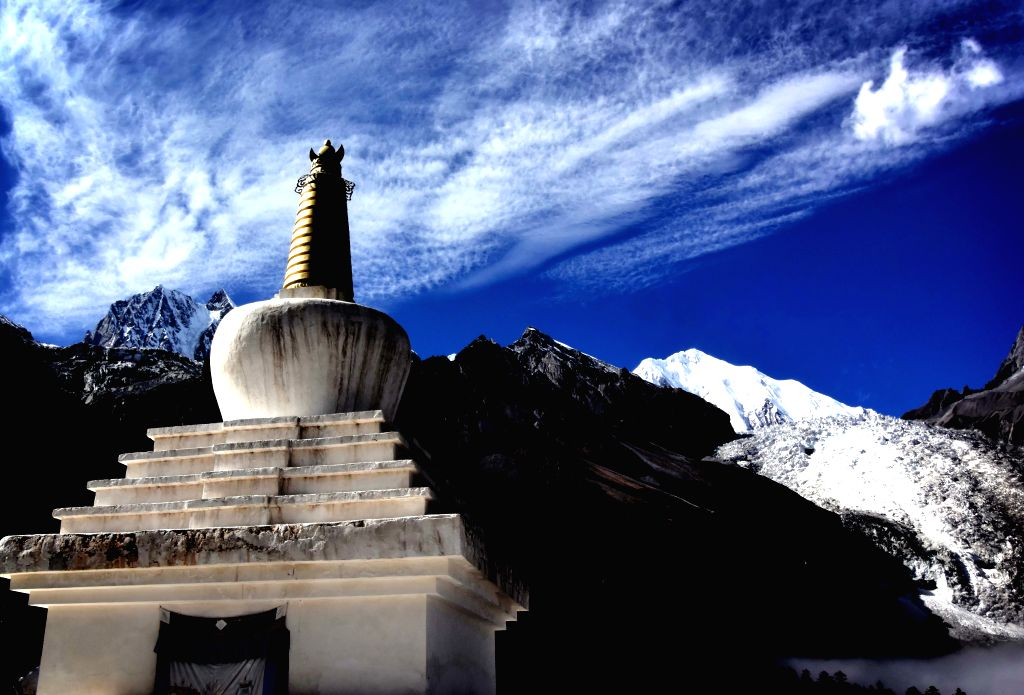 A buddhist pagoda is seen at Hailuogou National Glacier Forest Park in southwest China's Sichuan Province, Oct. 28, 2015. Hailuogou (Conch Gully) National Glacier ...