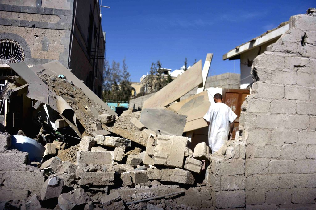 A building was destroyed in airstrikes of the Saudi-led coalition that wounded at least six people in Sanaa, Yemen, on Oct. 28, 2015. The coalition's airstrikes and ...