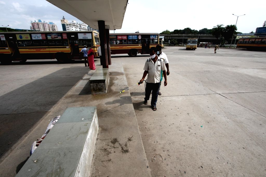 A bus depot being sanitised after the Tamil Nadu Government permitted the resumption of public transport services across the state, in Chennai on Sep 1, 2020.