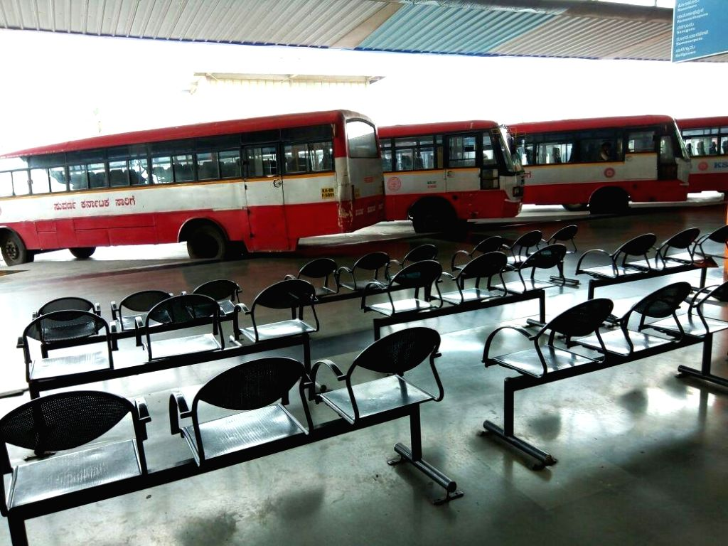 A bus stand wears a deserted look  as an uneasy calm prevailed in Bengaluru on Sept 13, 2016. One person was killed in police firing on Monday night and curfew is in force in 16 sensitive ...