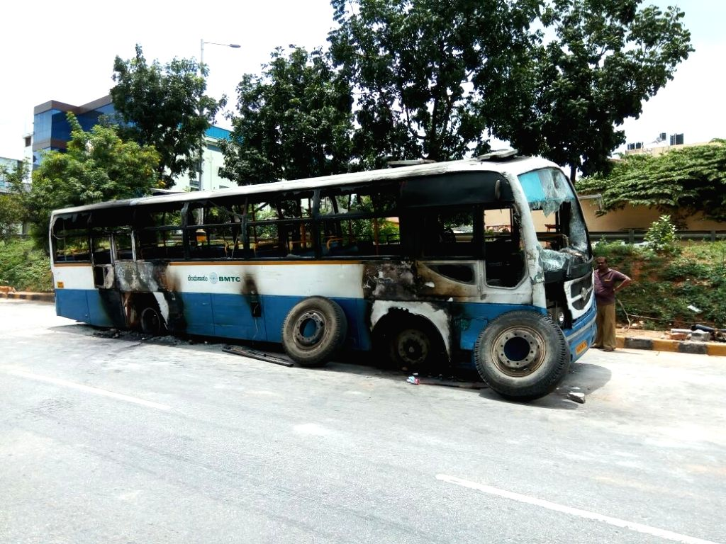 A bus that was torched by protesters in Bengaluru on Sept 13, 2016.