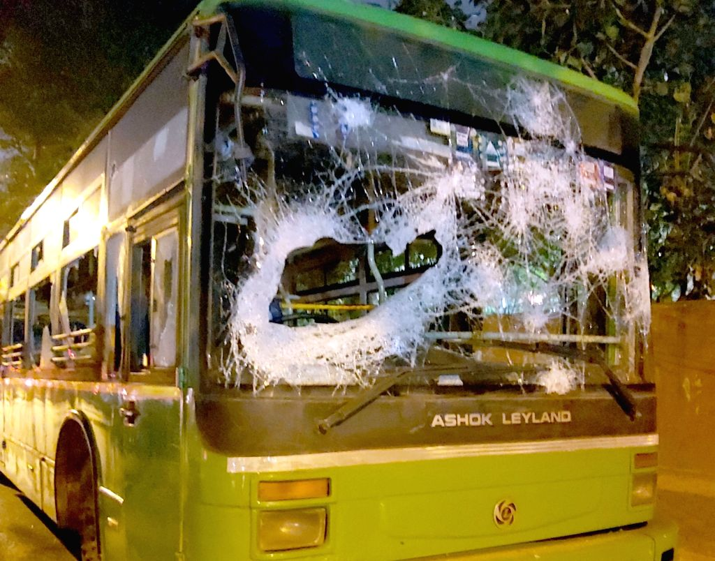 A bus which was damaged during a protest against the Citizenship (Amendment) Act, 2019 and National Register of Citizens (NRC) in New Delhi on Dec 15, 2019.