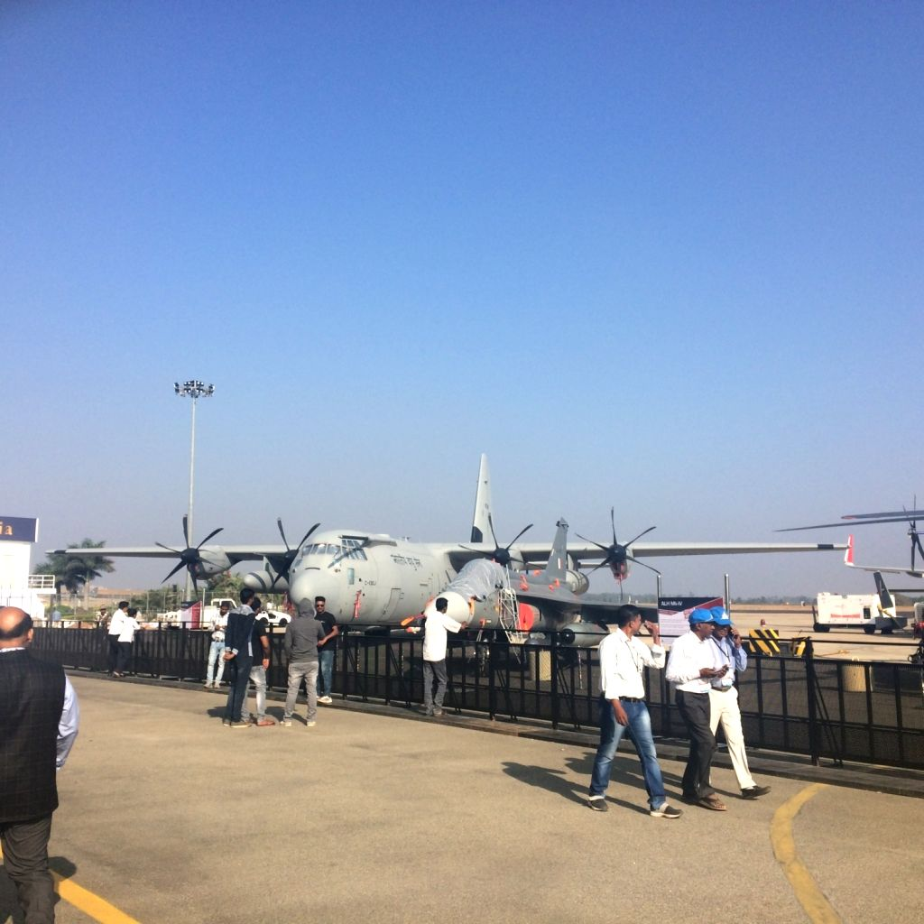 A C-130J Super Hercules on display during Aero India 2019 - air show that is being held at at Yelahanka Air Force Station, in Bengaluru, on Feb 20, 2019.