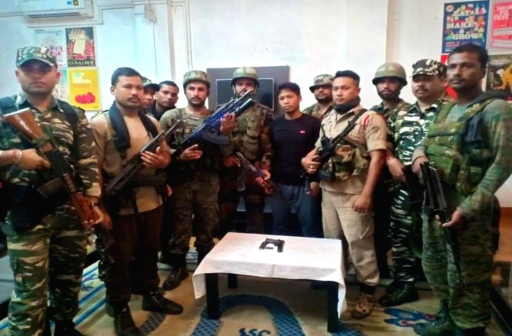A cadre of the separatist United Liberation Front of Assam-Independent (ULFA-I) laid down arms and surrendered in front of security forces in Assam's Tinsukia district, on July 19, 2019.