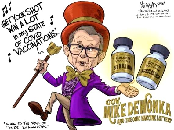 A caricature published on U.S. media to illustrate Ohio Governor Mike DeWine's lottery incentive which lures the state's people into COVID-19 vaccination.(Courtesy of Kevin Necessary/The Enquirer/IANS)