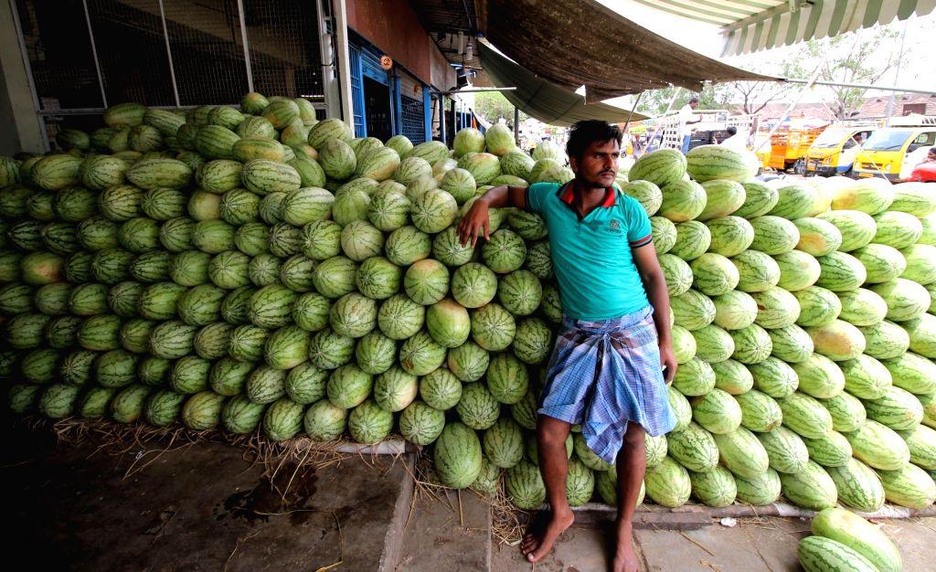 A cart full of sweet lemon at a Chennai wholesale market on June 2, 2016.
