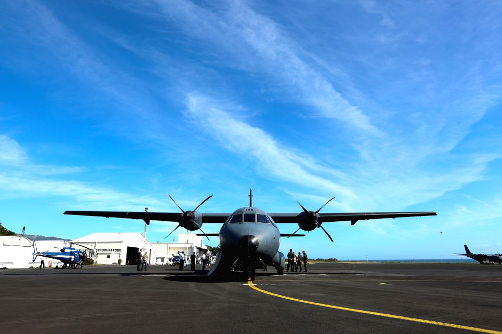 A CASA search plane taking part in the searching mission is seen at an airport in Saint Denis, La Reunion, Aug. 14, 2015. The administrator of Reunion Island ...