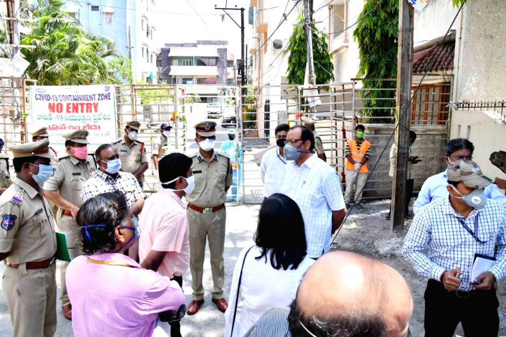 A Central team led by Additional Secretary in Jal Shakti Ministry Arun Baroka during their vsit to the Humayun Nagar Containment Zone in Hyderabad to take stock of the situation of ...
