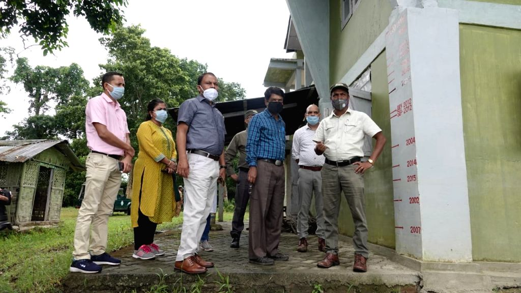 A Central team visits inside the Kaziranga National park to assess the extent of damage caused by the floods in Assam on August 29,2020.