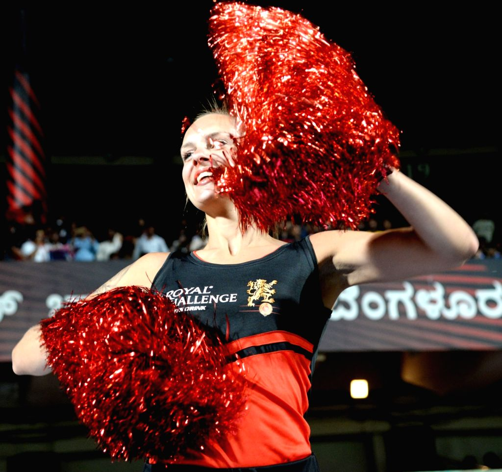 A cheerleader performs during the 42nd match of IPL 2019 between Royal Challengers Bangalore and Kings XI Punjab at M.Chinnaswamy Stadium in Bengaluru, on April 24, 2019.