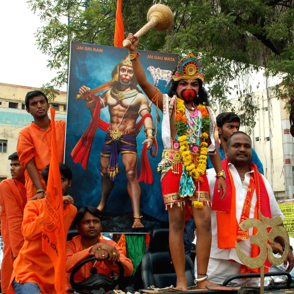 A child dressed as Lord Hanuman participates in a religious procession organised on Hanuman Jayanti, in Hyderabad on March 31, 2018.