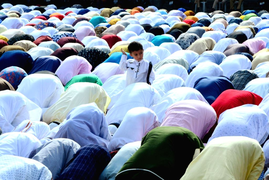 A child during Eid-ul-Fitr namaz in Nagpur on June 5, 2019.