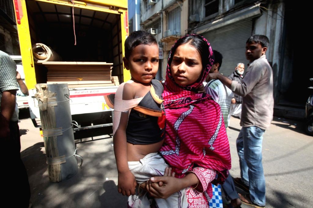 A child who was injured after a Mercedes car veered out of control and ran over a pavement injuring four others who were sleeping there, after midnight on 21st January; in Mumbai on Jan 22, ...