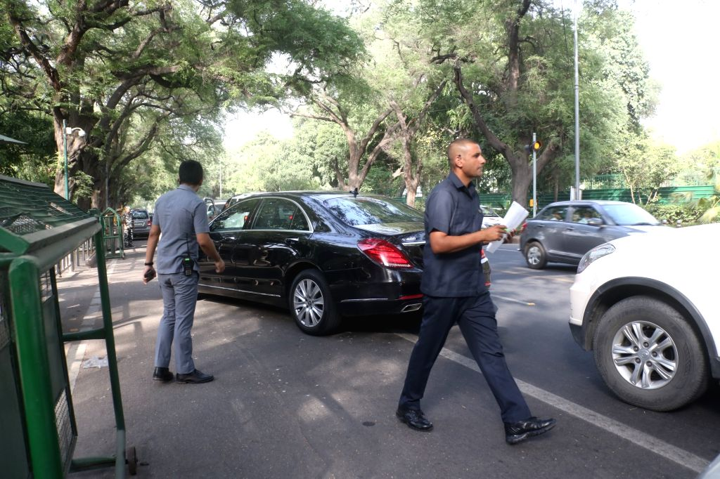 A Chinese delegation arrives at 10, Janpath Road in New Delhi on June 6, 2019.