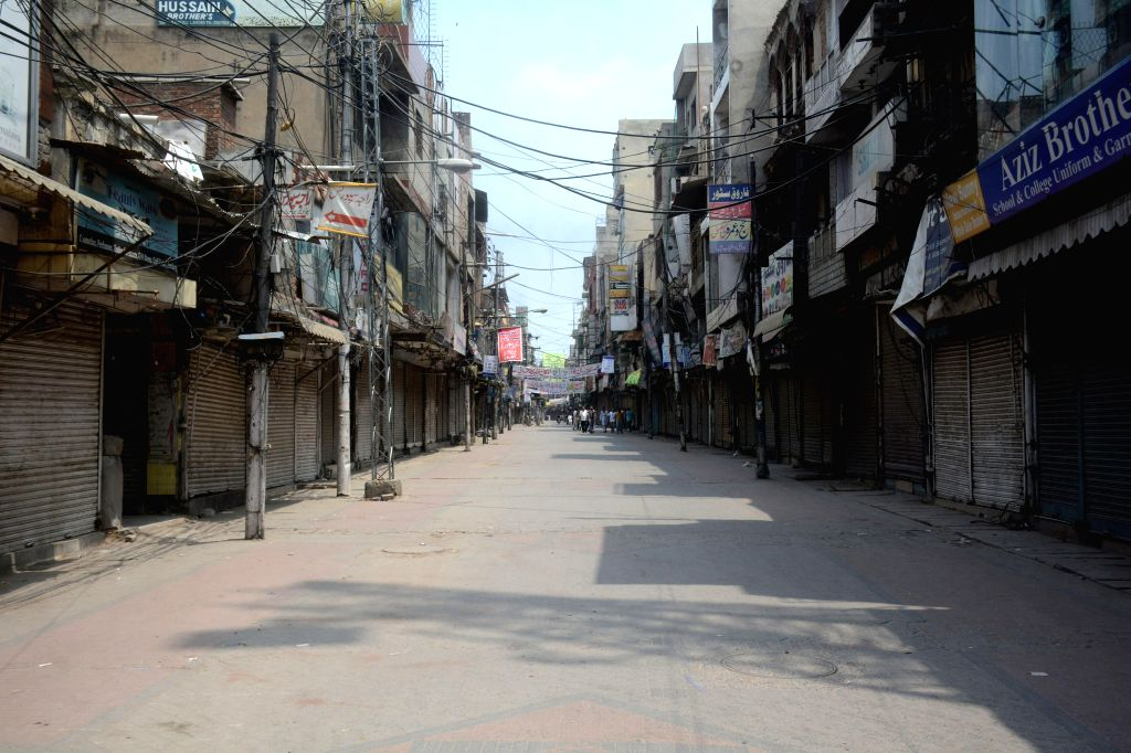 A closed market is seen during lockdown in eastern Pakistan's Lahore on July 30, 2020.