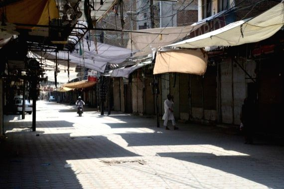 A closed market is seen in northwest Pakistan's Peshawar on May 8, 2021.