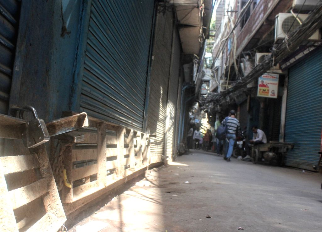A closed market view of Chawri bazar during the traders called Bharat band in new Delhi on Friday 26th February,2021.