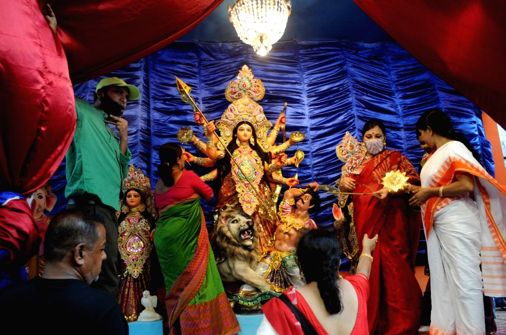 A community puja pandal at Red light area in Sonagachi ahead of Durga Puja celebrations, in Kolkata on Oct 21, 2020.