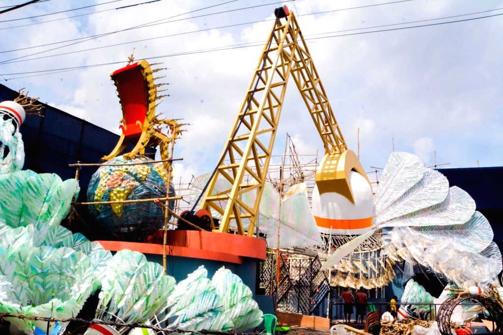 A community puja pandal of Rajdanga Naba Uday Sangha under construction ahead of Durga Puja celebrations, in Kolkata on Sep 30, 2019.
